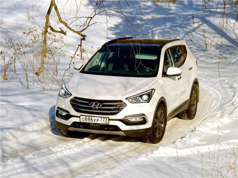 Hyundai Santa Fe 2015 вид спереди сверху