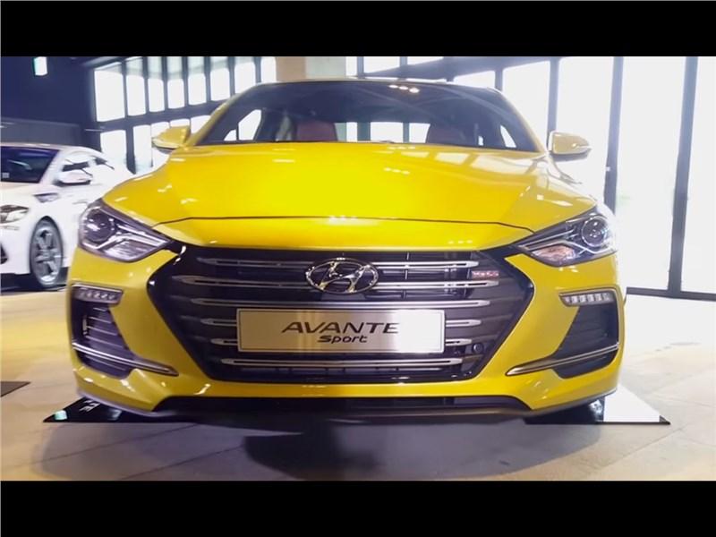 Hyundai Elantra Sport 2017 вид спереди желтая