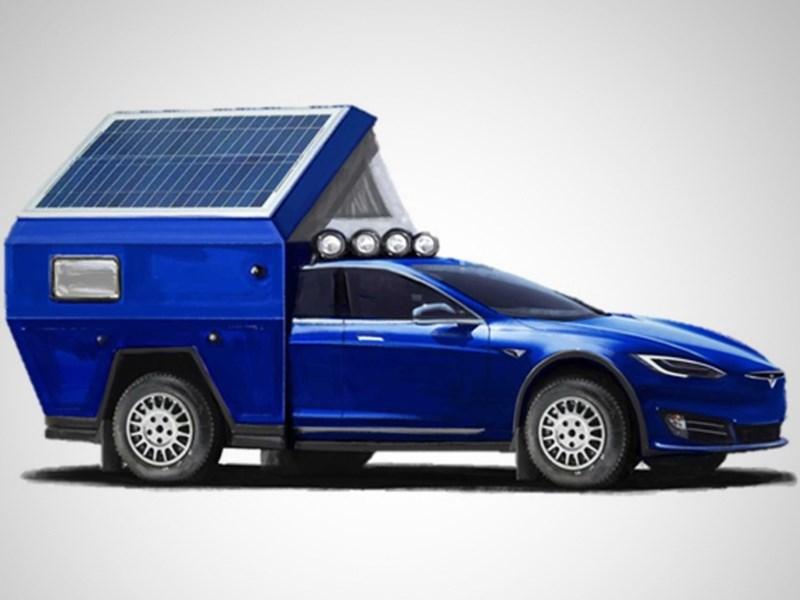 Автомобиль Tesla превратили в дом на колесах