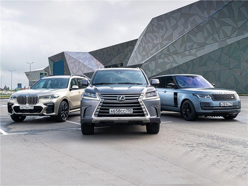 BMW X7, Lexus LX, Land Rover Range Rover - сравнительный тест. если не мелочиться: в схватке за звание царя горы сошлись «технарь» bmw x7, брутальный lexus lx и «аристократ» range rover