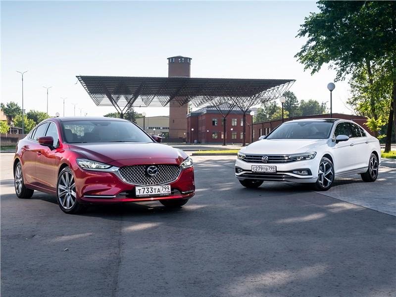 Mazda 6, Volkswagen Passat - сравнительный тест mazda 6 2.5 turbo и volkswagen passat 2.0 tsi как красное и белое, или истина в вине