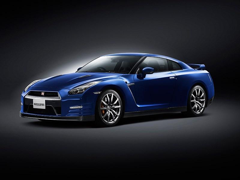 Nissan GTR 2013 вид сбоку 3/4 синяя