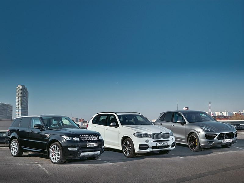 BMW X5 M, Land Rover Range Rover Sport, Porsche Cayenne Turbo - сравнительный тест range rover sport, bmw x5 и porsche cayenne