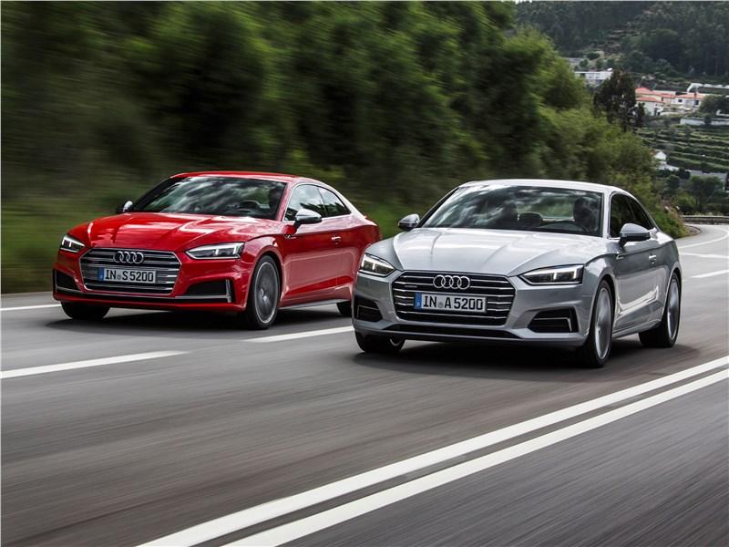 Audi S5 2017 вид спереди на дороге