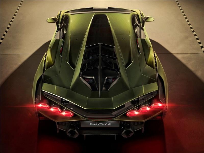 Lamborghini Sian 2020 вид сзади сверху