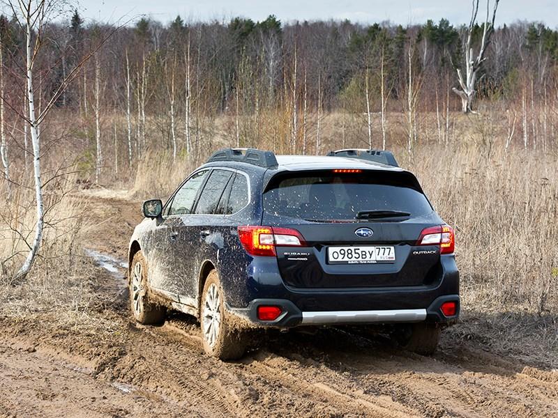 Subaru Outback 2015 вид сзади в грязи