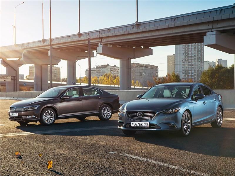 Mazda 6, Volkswagen Passat - сравнительный тест. mazda 6 2016 и volkswagen passat 2015. на спорной территории