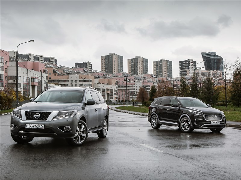 Hyundai Grand Santa Fe, Nissan Pathfinder - сравнительный тест hyundai grand santa fe и nissan pathfinder. в тяжелом весе
