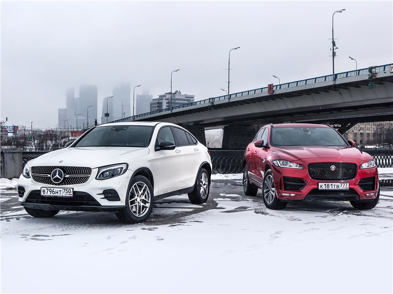 Mercedes-Benz GLC Coupe, Jaguar F-Pace - сравнительный тест mercedes-benz glc 250 coupe и jaguar f-pace 3.0. в поисках адреналина