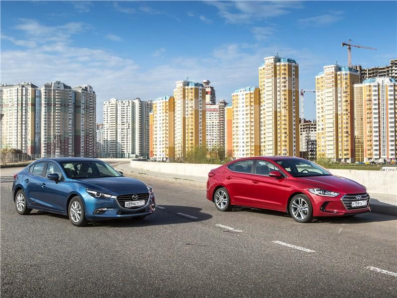 Hyundai Elantra, Mazda 3 - сравнительный тест mazda 3 2017 и hyundai elantra 2017. азиатский спор