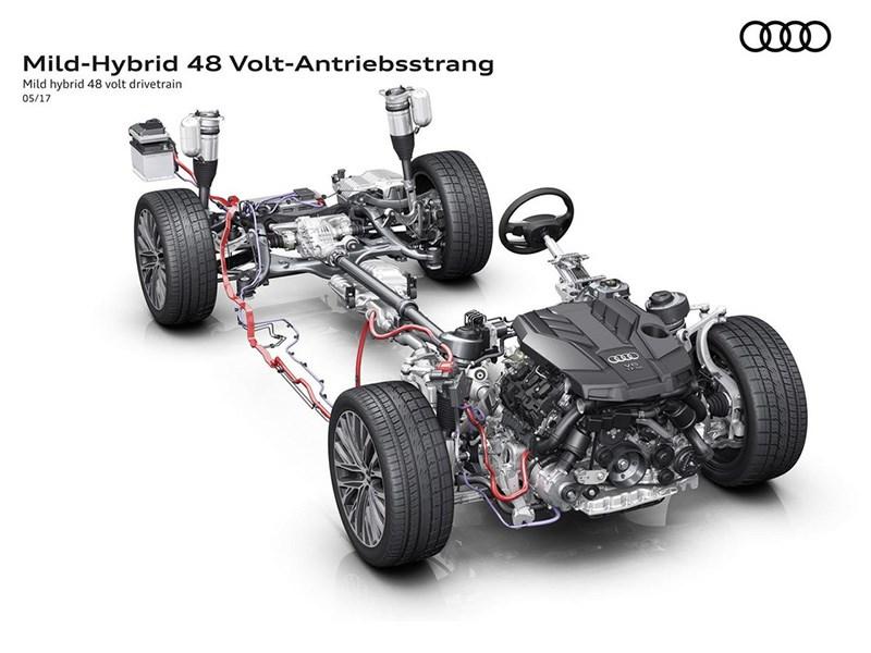 Ауди A8 обновленного поколения получил гибридную силовую установку