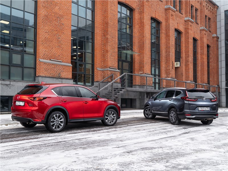 Honda CR-V и Mazda CX-5 вид сзади