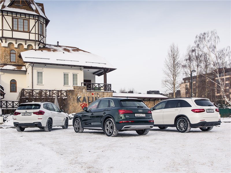 Mercedes-Benz GLC, Audi Q5 и BMW X3 вид сзади