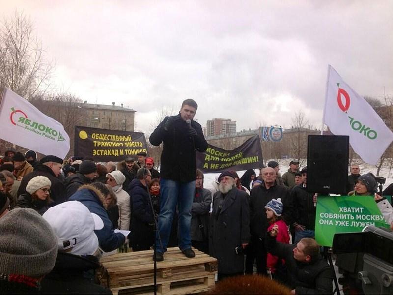 На Ленинском проспекте прошел митинг против его реконструкции