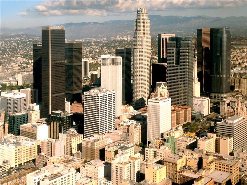 Лос-Анджелес с высоты вертолетного полета
