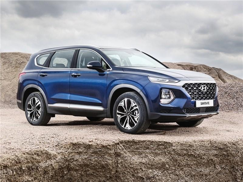 Hyundai Santa Fe 2019 вид спереди сбоку