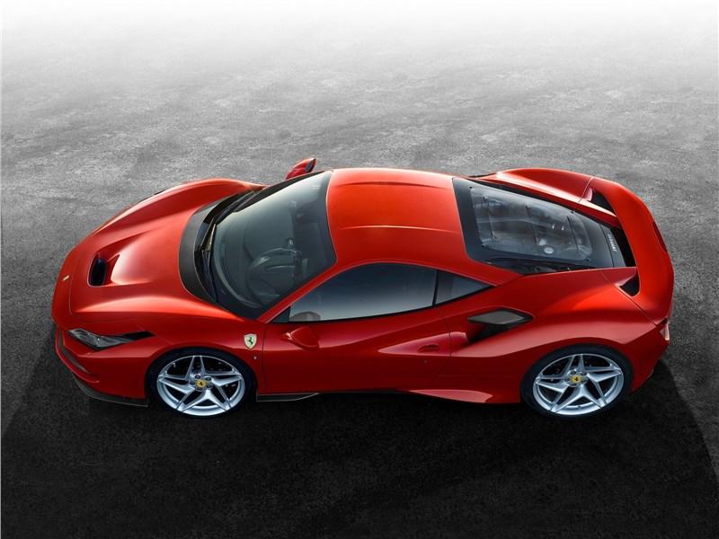 Ferrari F8 Tributo 2020 вид сбоку сверху