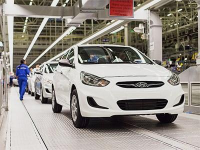 Количество автомобилей Hyundai, произведенных в России, растет