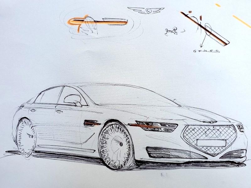 Новый Genesis G90 нарисовали карандашом