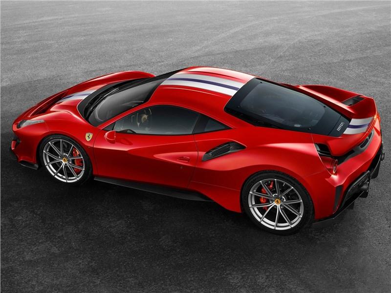 Ferrari 488 Pista 2019 вид сбоку сверху