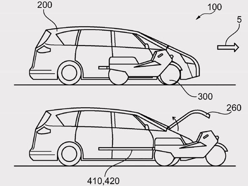 Ford запатентовал автомобиль со встроенным мотоциклом