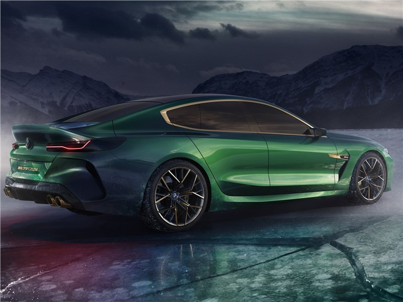 BMW M8 Gran Coupe Concept 2018 вид сбоку сзади