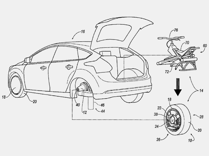 Ford запатентовал электромоноцикл, встроенный в автомобиль
