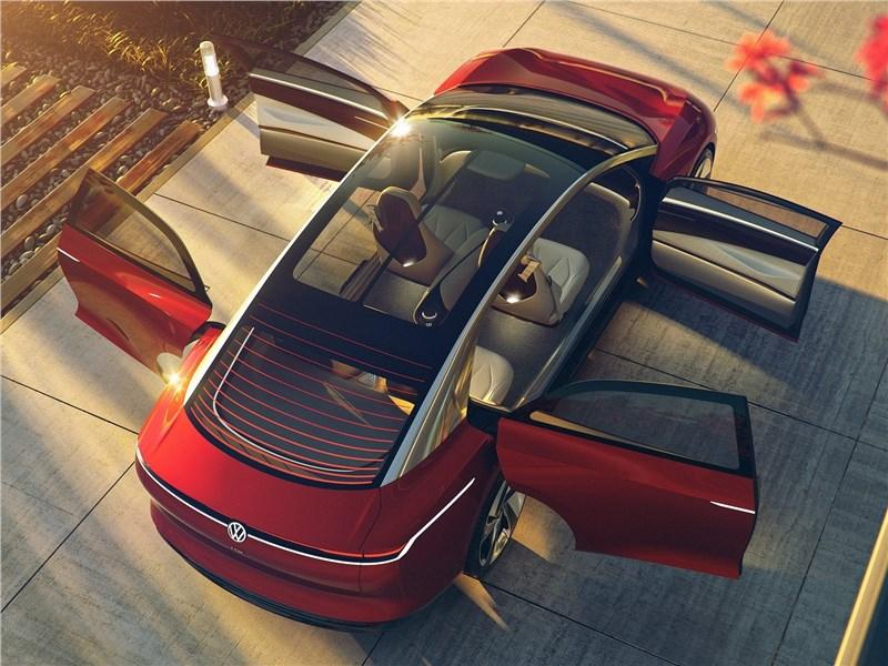 Volkswagen ID Vizzion Concept 2018 вид сзади сверху с открытыми дверями