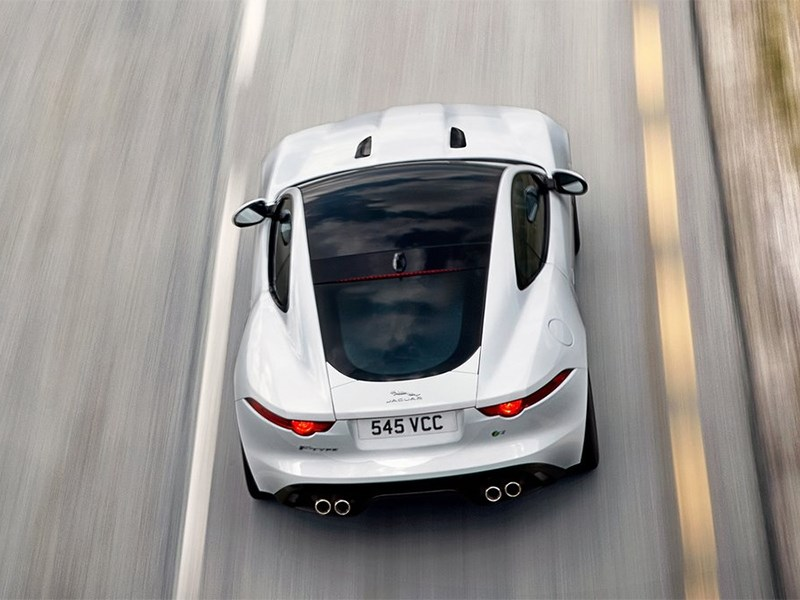 Jaguar F-Type 2014 вид сзади сверху