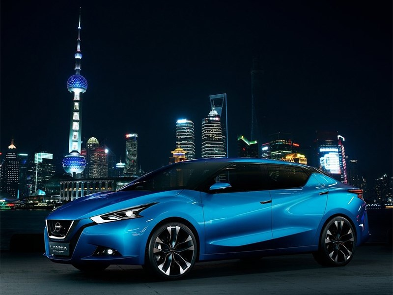 Nissan Lannia concept 2014 вид сбоку спереди