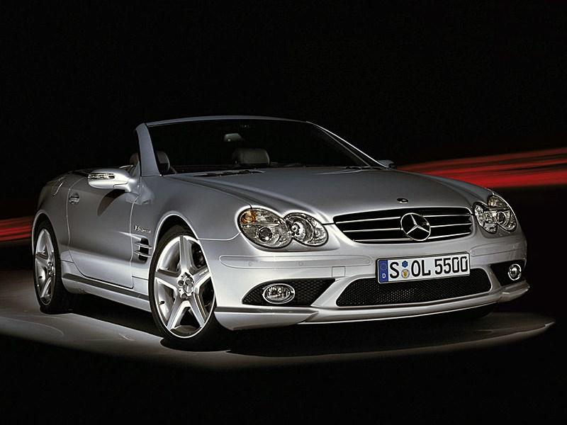 Mercedes-Benz SL55 AMG 2006 вид с открытой крышей