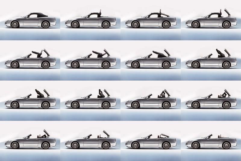 Процесс открывания крыши у Maserati Spyder