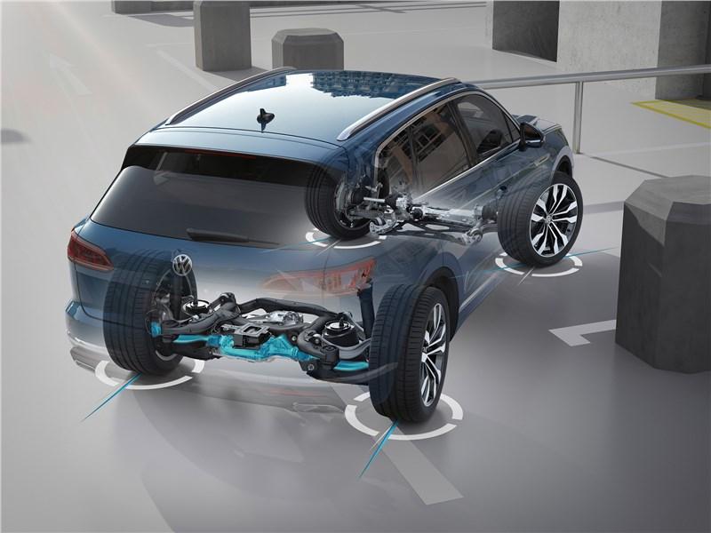 Volkswagen Touareg 2019 подруливающие колеса задней оси