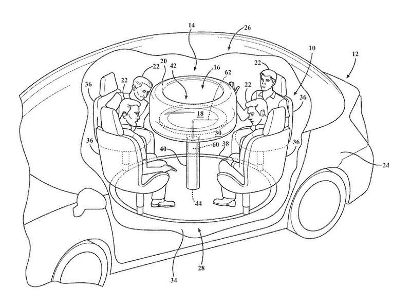 Ford запатентовал автомобильный «обеденный» стол с подушкой безопасности