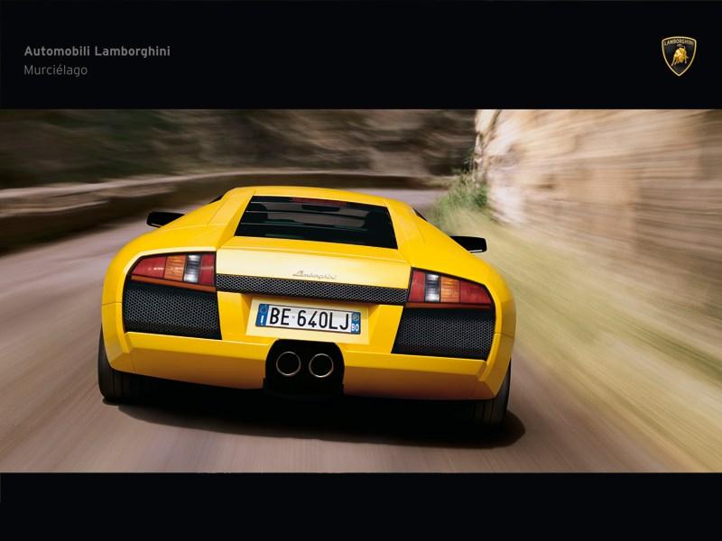 Lamborghini Murcielago 2006 вид сзади в динамике