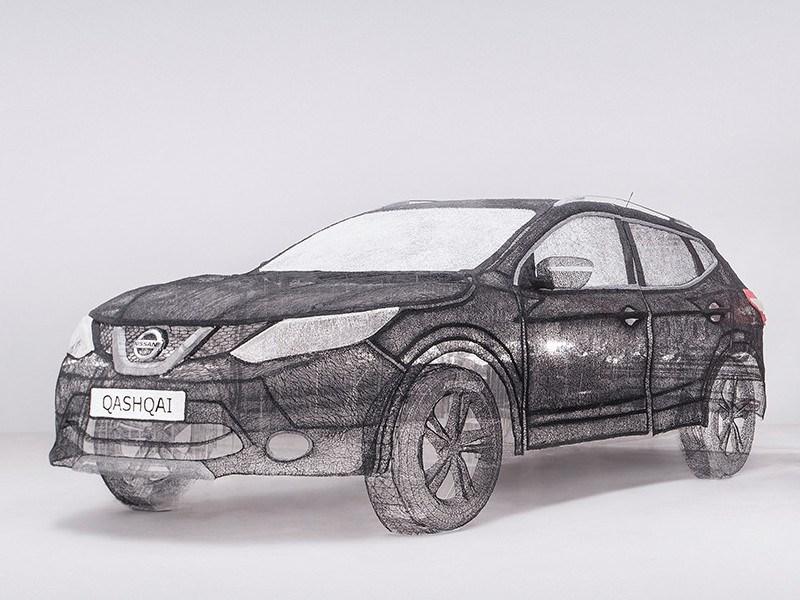 Британский художник «нарисовал» скульптуру Nissan Qashqai